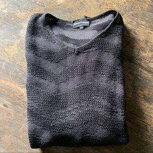 Emporio Armani Woven V-neck Grey Sweater